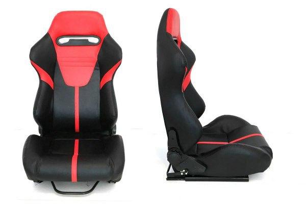 Fotel sportowy R-LOOK II Skóra Black Red - GRUBYGARAGE - Sklep Tuningowy